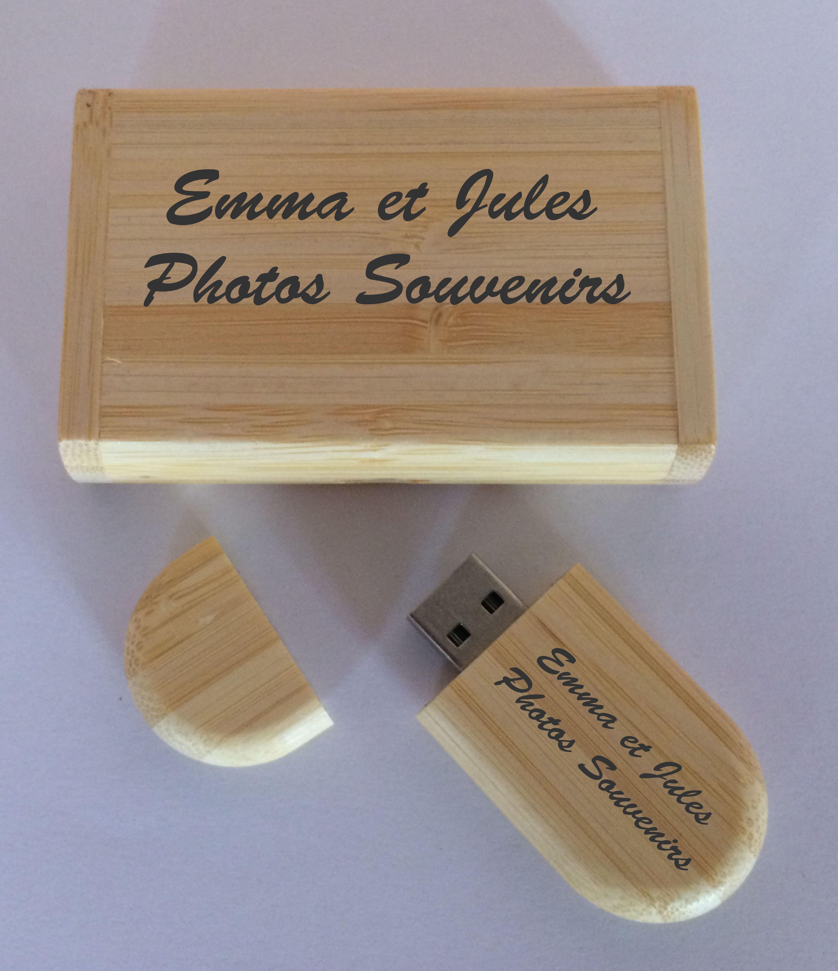 cl usb 32 go personnalisable en bambou avec la boite gravure pr nom. Black Bedroom Furniture Sets. Home Design Ideas