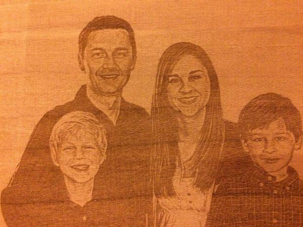 Gravure portrait sur bois en 2D