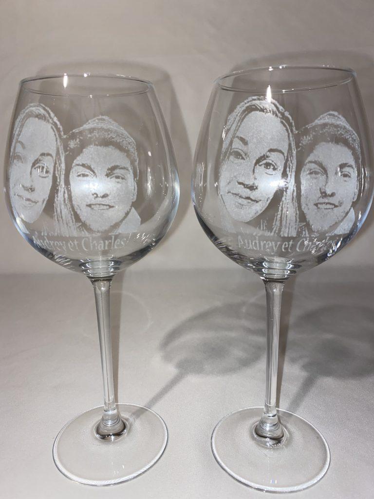 Portrait gravé sur verre